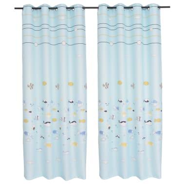 acheter vidaxl rideau occultant imprim pour enfants 2 pcs 140 x 240 cm bleu pas cher. Black Bedroom Furniture Sets. Home Design Ideas
