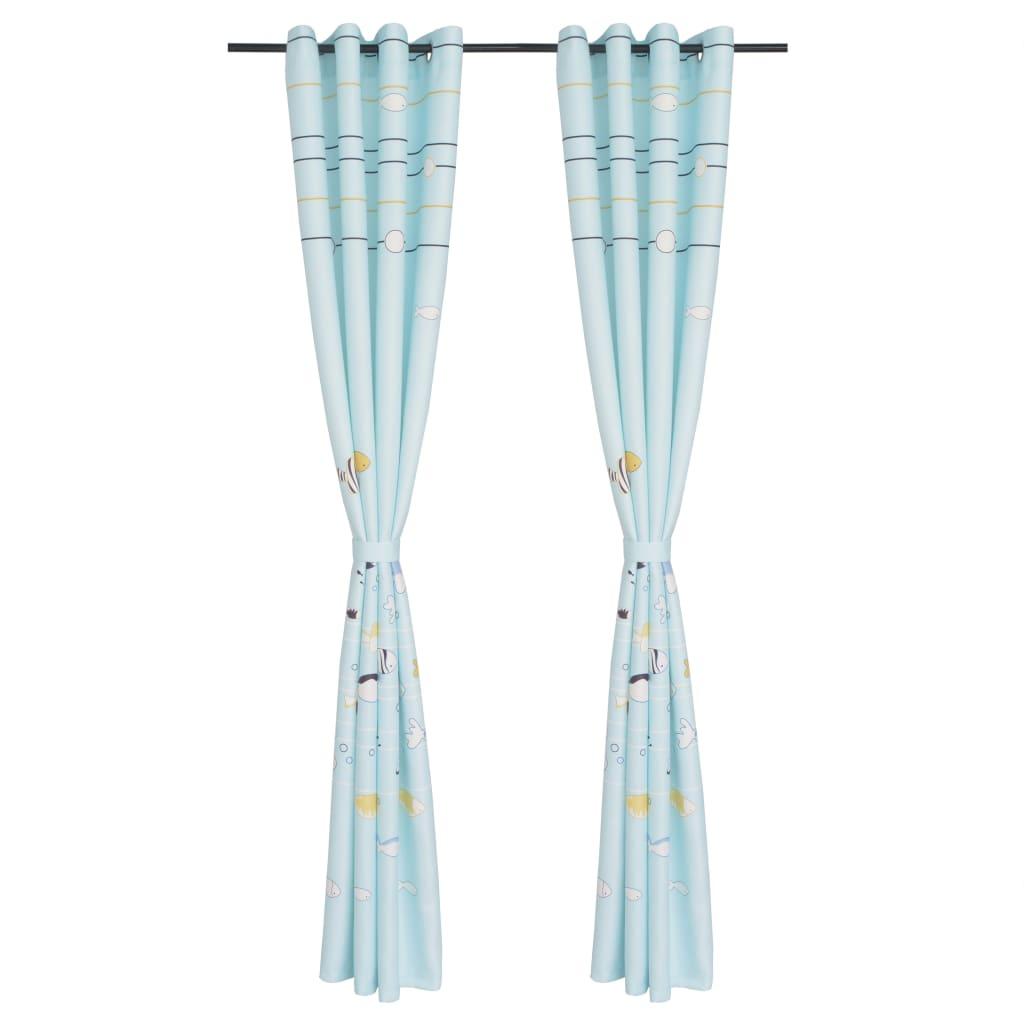 vidaXL Dětské zatemňovací závěsy s potiskem, 2 ks, 140x240 cm, modrá