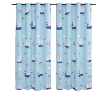vidaXL Draperii opace camera copiilor, 2 buc, 140 x 240 cm, albastru[1/4]
