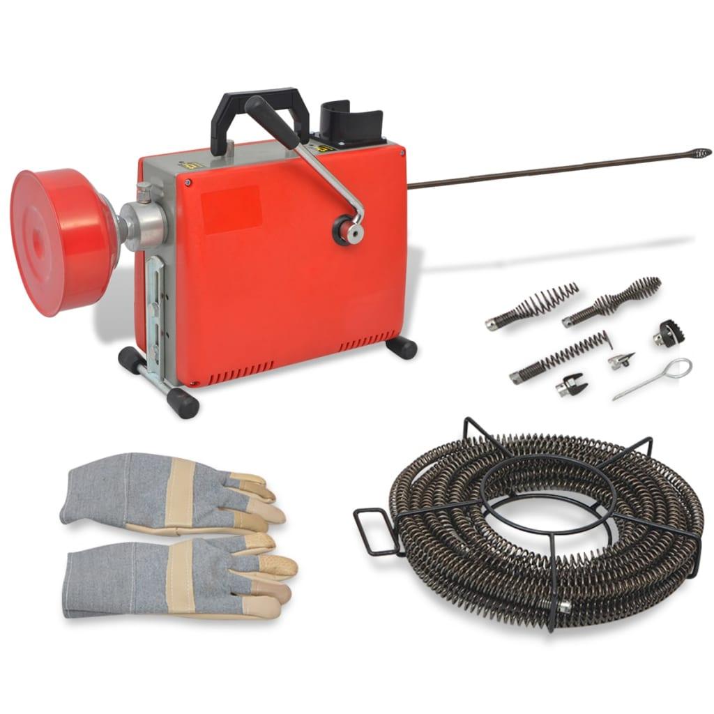 vidaXL Mașină de curățat țevi, 250 W, 15 m x 16 mm, 4,5 m x 9,5 mm vidaxl.ro