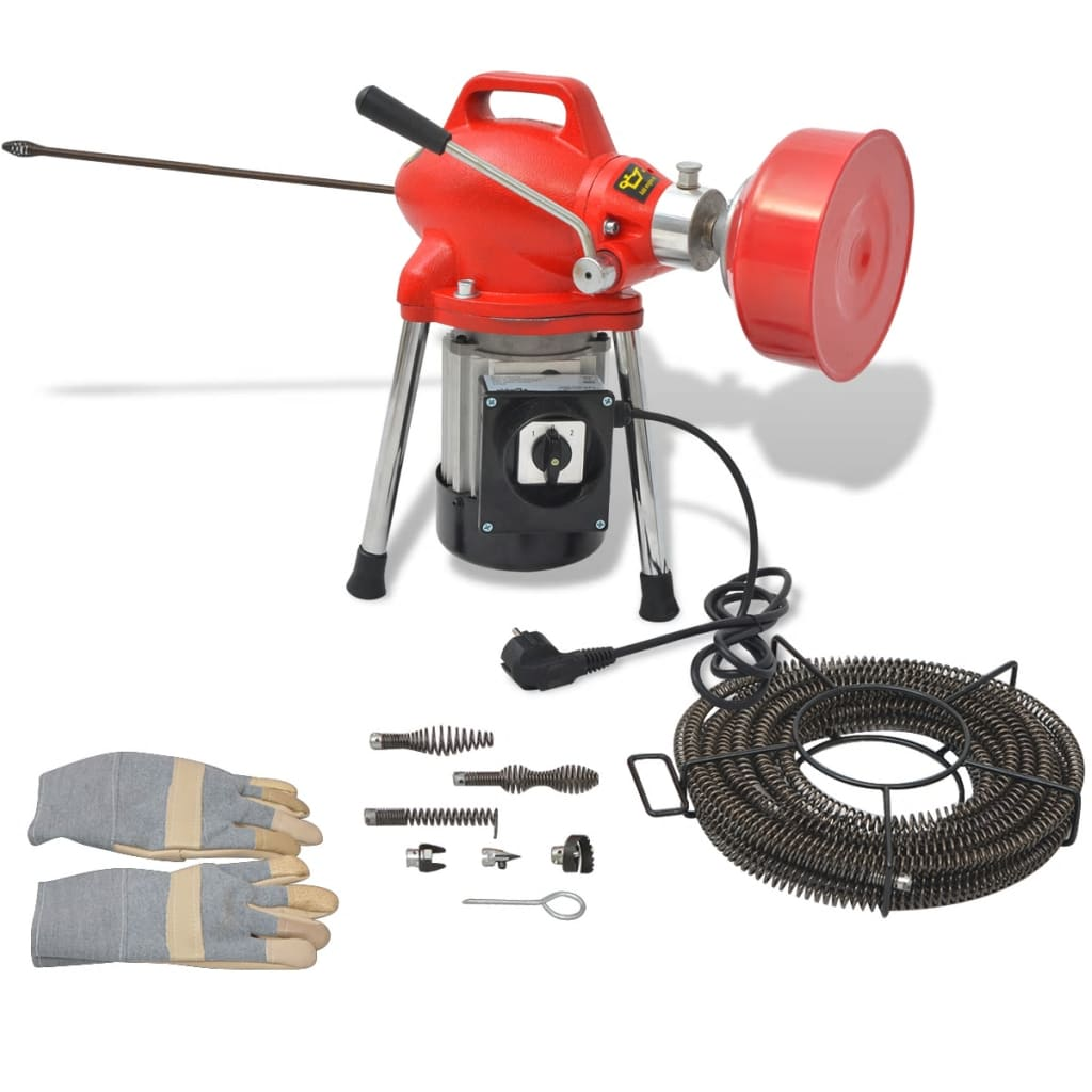 vidaXL Mașină curățare țevi, 250 W, 12,5 x 16 mm, 4,5 m x 9,5 mm poza vidaxl.ro