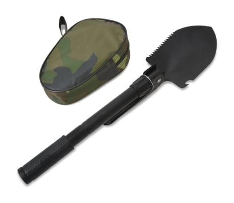 vidaXL Folding Shovel Carbon Steel Black