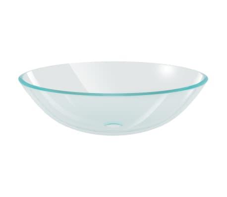 vidaXL Wasbak gehard glas 42 cm transparant