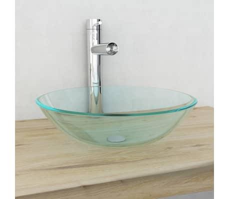 Détails sur vidaXL Lavabo Vasque à poser pour salle de bain Verre trempé  Transparent/Givré