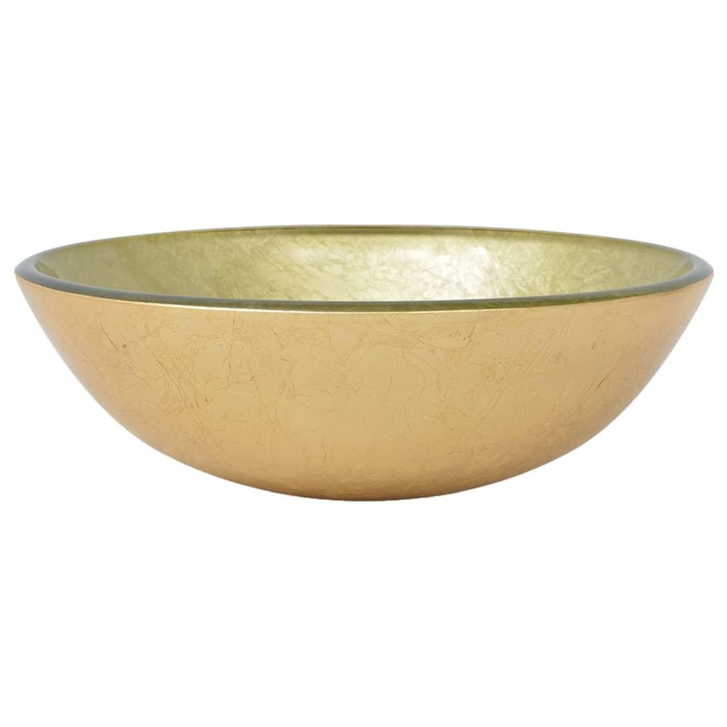 vidaXL Νιπτήρας 42 εκ. Χρώμα Χρυσού από Ψημένο Γυαλί