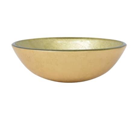 vidaXL Lavabo de vidrio templado dorado 42 cm[2/4]