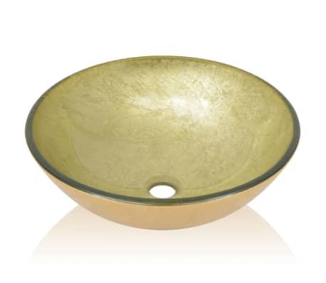 vidaXL Lavabo de vidrio templado dorado 42 cm[3/4]
