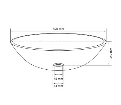 vidaXL Lavabo de vidrio templado dorado 42 cm[4/4]