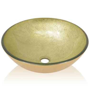 vidaXL Waschbecken Hartglas 42 cm Gold[3/4]