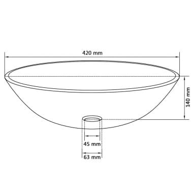 vidaXL Waschbecken Hartglas 42 cm Gold[4/4]