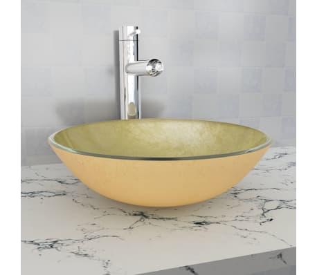Vidaxl lavabo de vidrio templado 42 cm dorado - Lavabo de vidrio ...