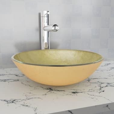 vidaXL Waschbecken Hartglas 42 cm Gold[1/4]