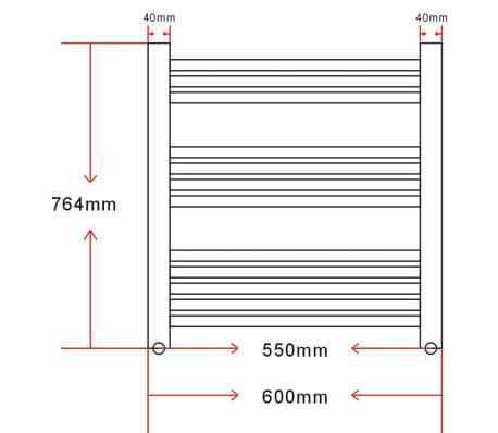 vidaXL Badkamer radiator/handdoekenrek gebogen 600x764 mm 300 W ...