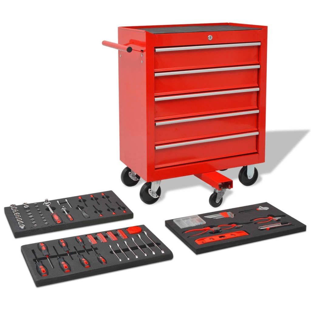 Dílenský vozík na nářadí s 269 nástroji ocelový červený