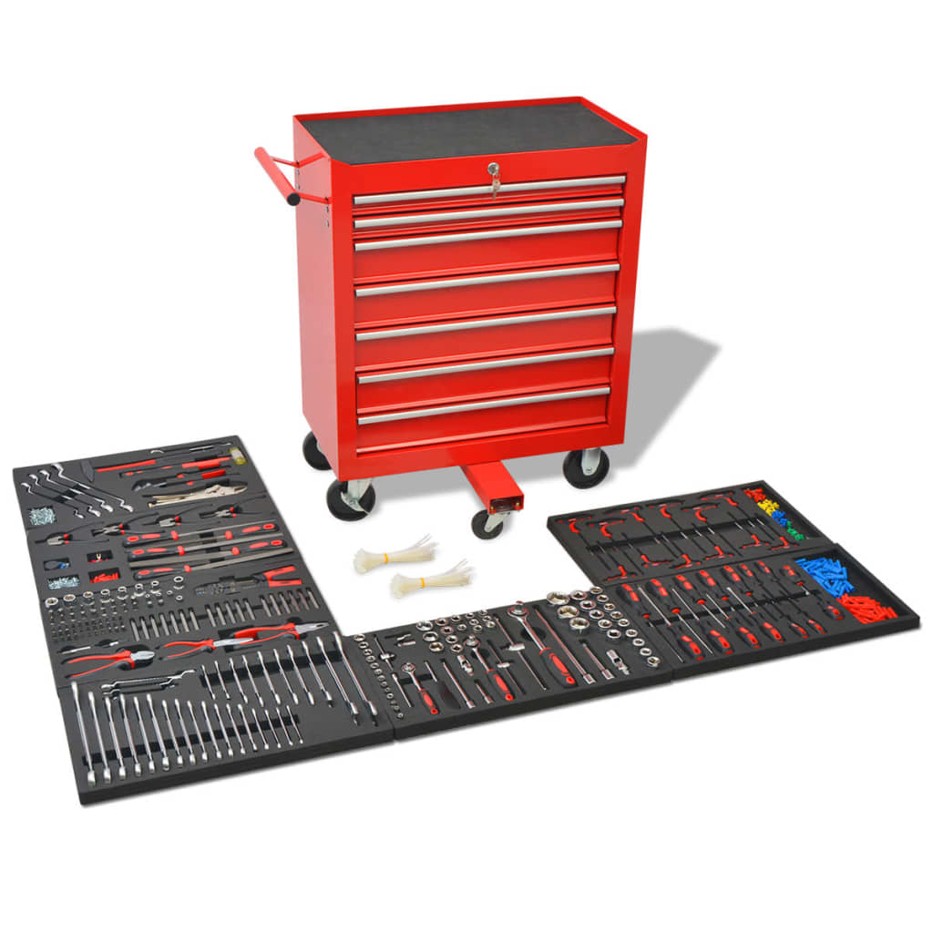 vidaXL Cărucior de scule pentru atelier, 1125 de scule, roșu, oțel poza vidaxl.ro