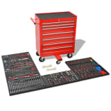 vidaXL Workshop Tool Trolley with 1125 Tools Steel Red