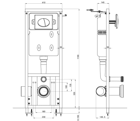 vidaXL Cisterna alta oculta 11 L 41x14x (110-125) cm[7/7]