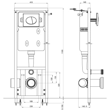 vidaXL Verborgen hoge stortbak 11 L 41x41x(110-125)cm[7/7]