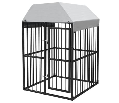 vidaXL Heavy-Duty Outdoor Dog Kennel with Roof 4'x4'[1/5]
