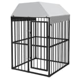 vidaXL Heavy-Duty Outdoor Dog Kennel with Roof 4'x4'