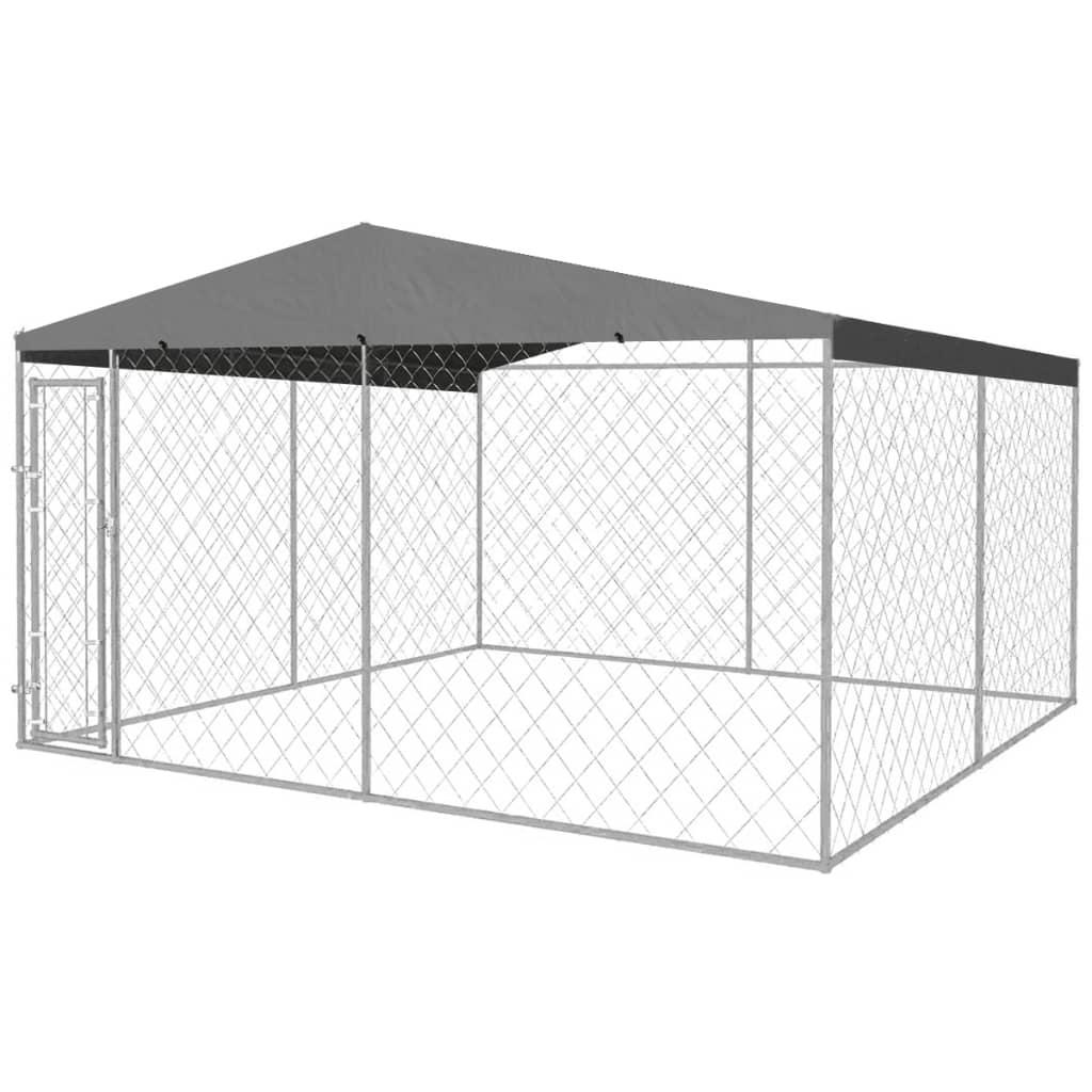 vidaXL Padoc pentru câini de exterior, cu acoperiș, 4 x 4 x 2,4 m imagine vidaxl.ro