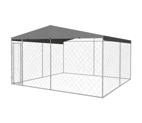 vidaXL Outdoor Dog Kennel with Roof 13'x13'x7.9'[1/5]