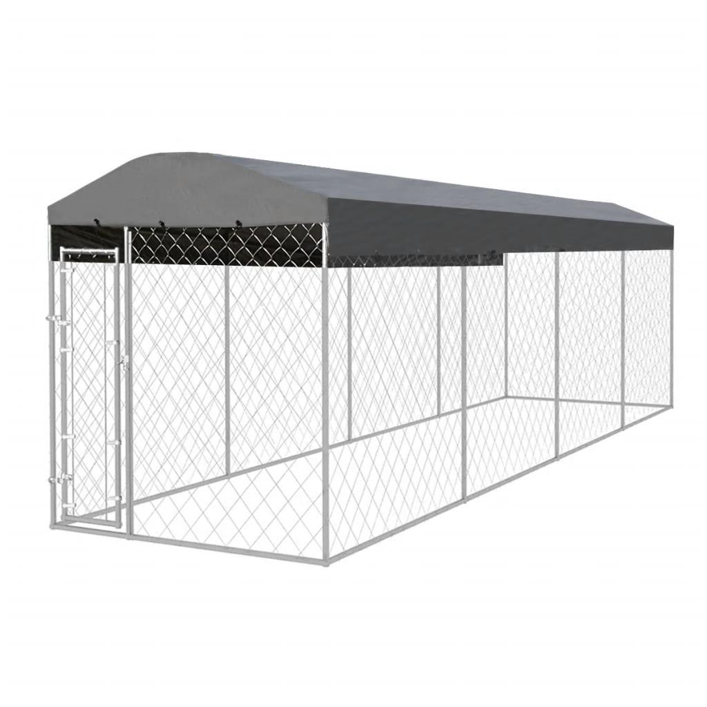 vidaXL Padoc pentru câini de exterior, cu acoperiș, 8 x 2 x 2,4 m imagine vidaxl.ro