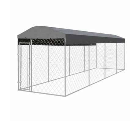vidaXL Outdoor Dog Kennel with Roof 25'x6'[1/5]