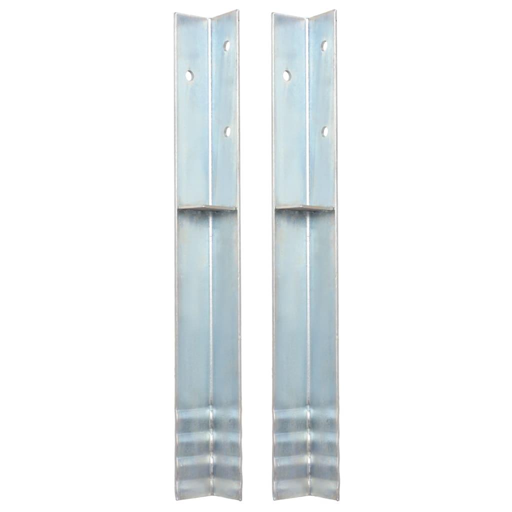vidaXL Rohové kotvy do země, 2 ks, pozinkovaná ocel, 5x5x50 cm
