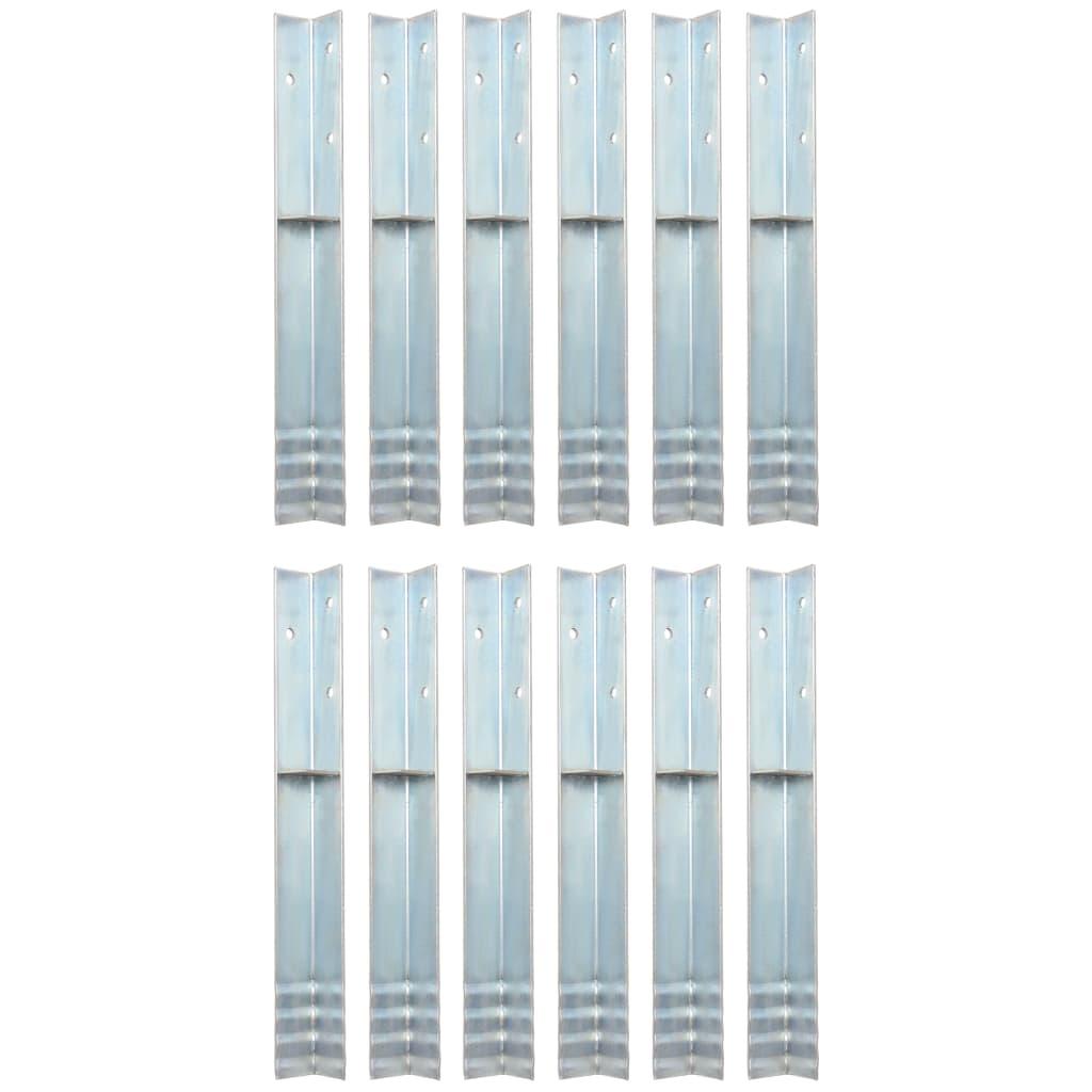 vidaXL Rohové kotvy do země, 12 ks, pozinkovaná ocel, 5x5x50 cm