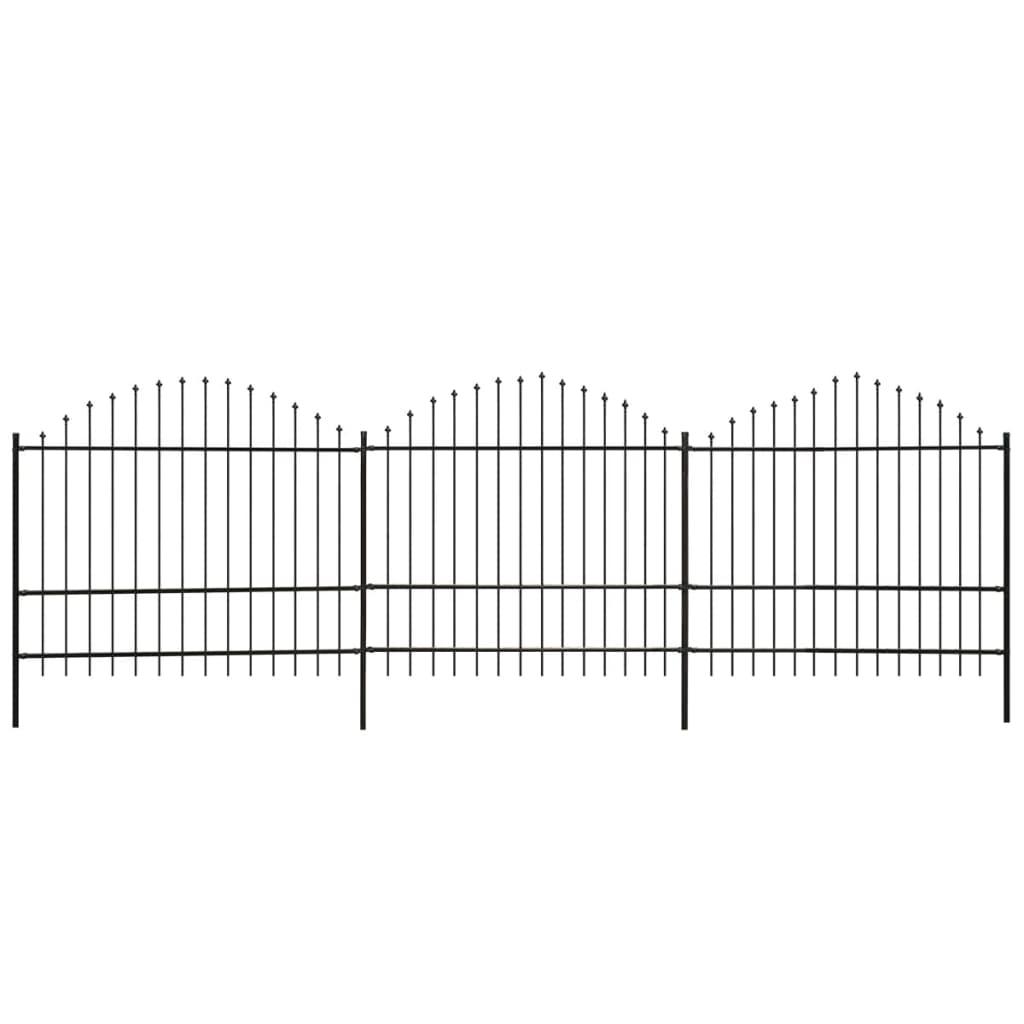 vidaXL Gard de grădină cu vârf suliță, negru, (1,5-1,75) x 6 m, oțel imagine vidaxl.ro