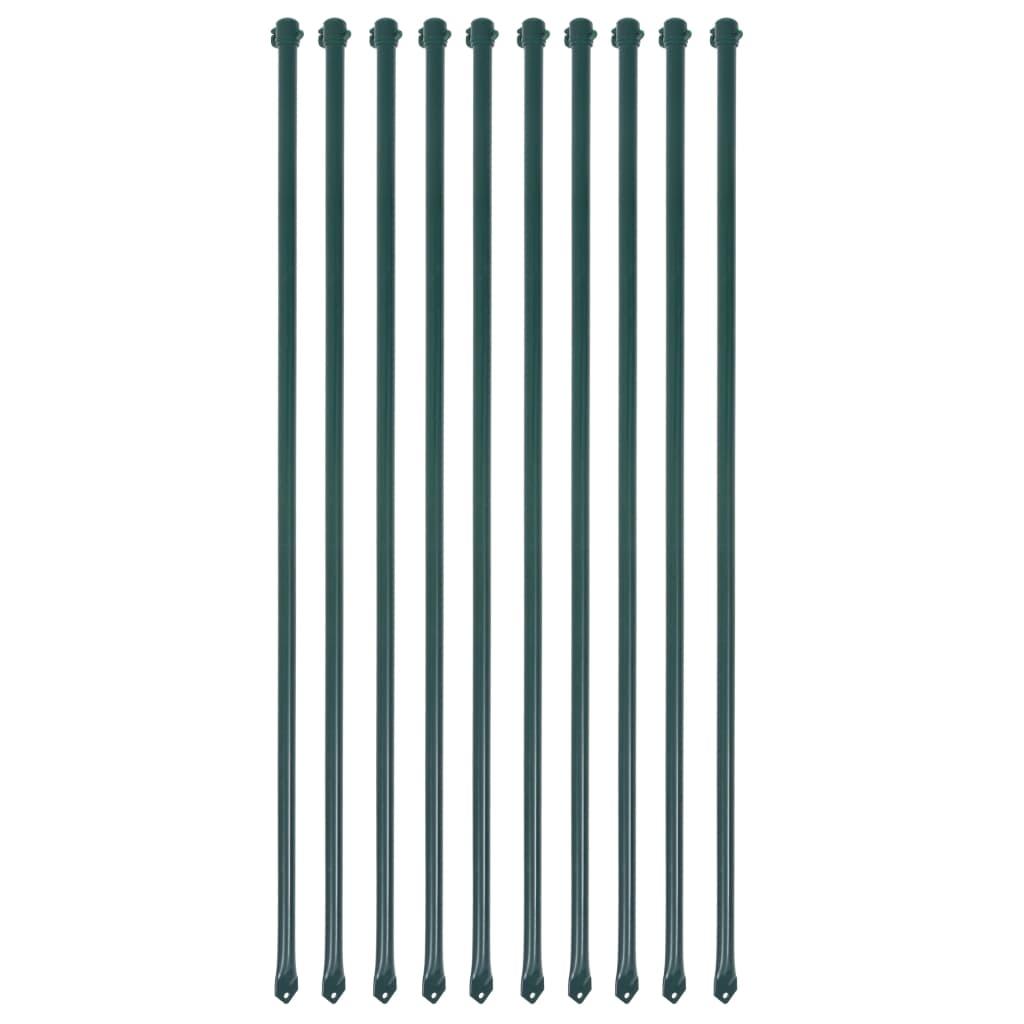 vidaXL Plotové sloupky, 10 ks, kov, 1 m, zelené