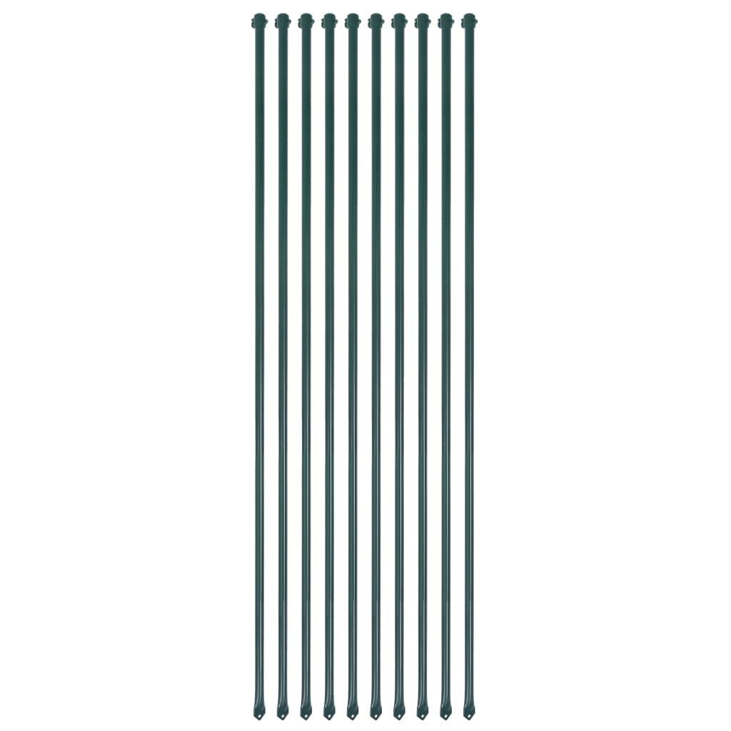 vidaXL Plotové sloupky, 10 ks, kov, 1,5 m, zelené