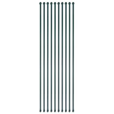 vidaXL Vrtni stebrički 10 kosov 1,5 m kovina zelene barve[1/4]