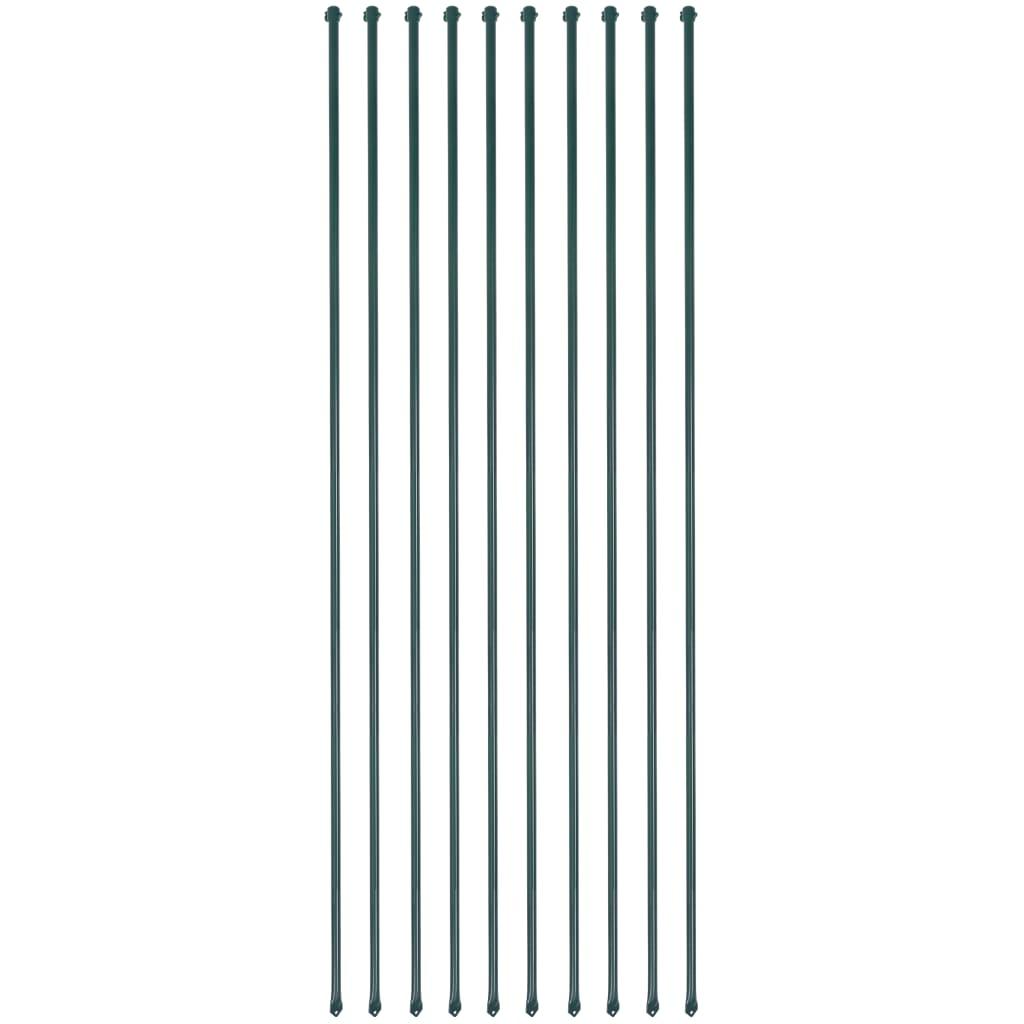 vidaXL Plotové sloupky, 10 ks, kov, 2 m, zelené