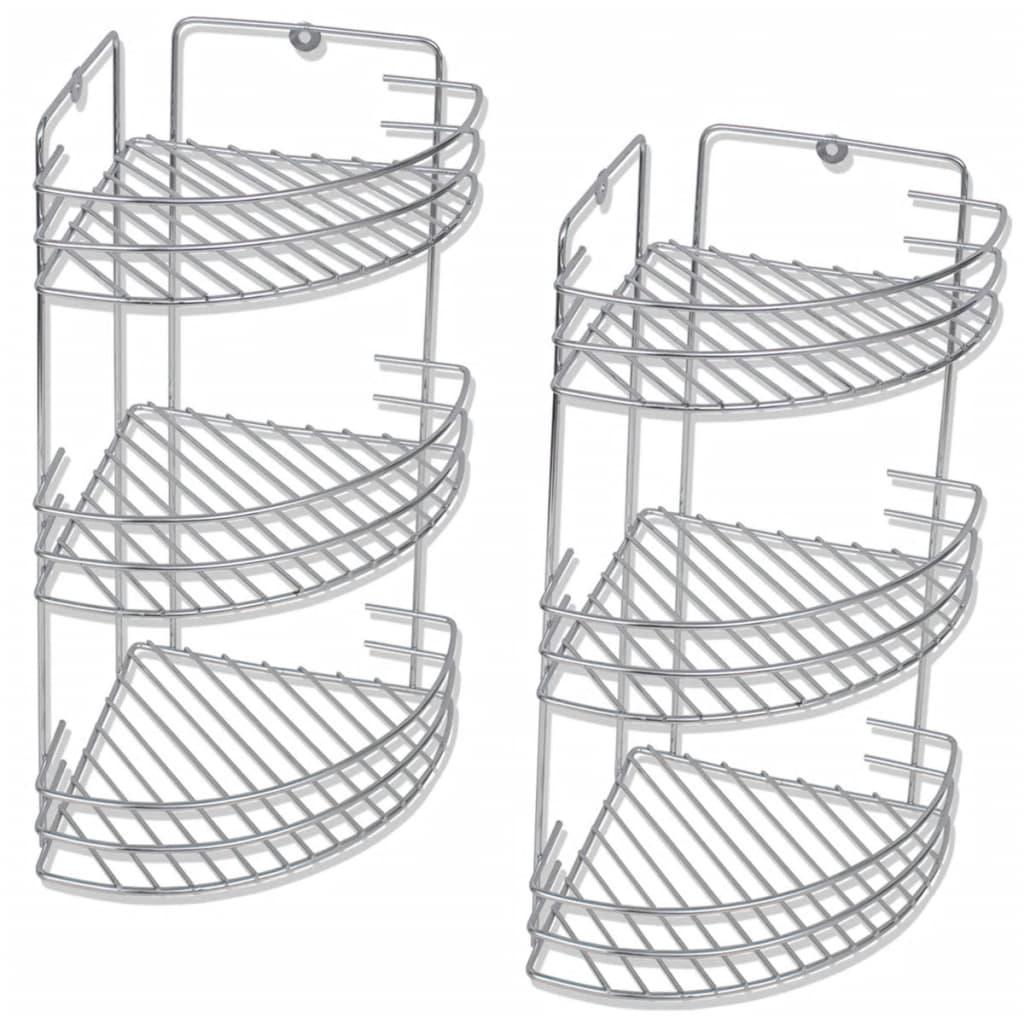 vidaXL Trelags dusjhylle for hjørne 2 stk metall