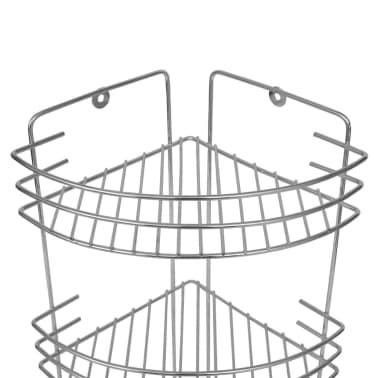 vidaXL Třípatrová rohová polička do sprchy 2 ks kovová[5/6]