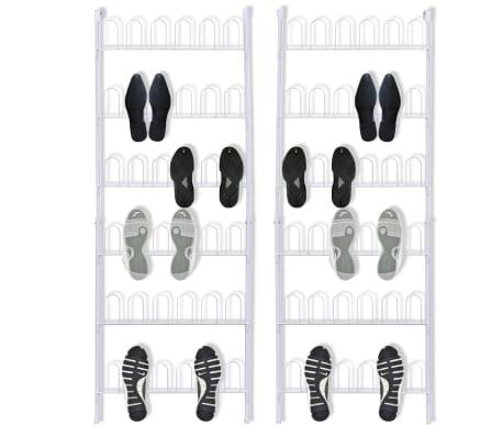 vidaXL 18 Pairs Shoe Racks 2 pcs Steel White