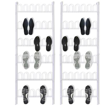 c9a1de97 Shop vidaXL skoreol til 18 par sko 2 dele stål hvid | vidaXL