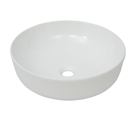 "vidaXL Basin Round Ceramic White 16.3""x5.3""[2/5]"