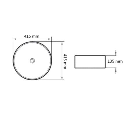 "vidaXL Basin Round Ceramic White 16.3""x5.3""[5/5]"