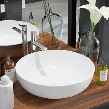 "vidaXL Basin Round Ceramic White 16.3""x5.3""[1/5]"