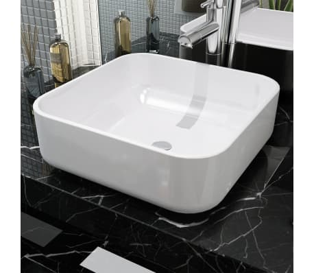 "vidaXL Basin Square Ceramic White 15""x15""x5.3""[1/4]"