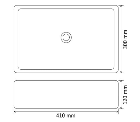 "vidaXL Basin Rectangular Ceramic White 16.1""x11.8""x4.7""[5/5]"