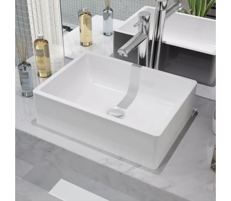 "vidaXL Basin Rectangular Ceramic White 16.1""x11.8""x4.7""[1/5]"