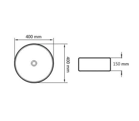 "vidaXL Basin Round Ceramic White 15.7""x5.9""[6/6]"