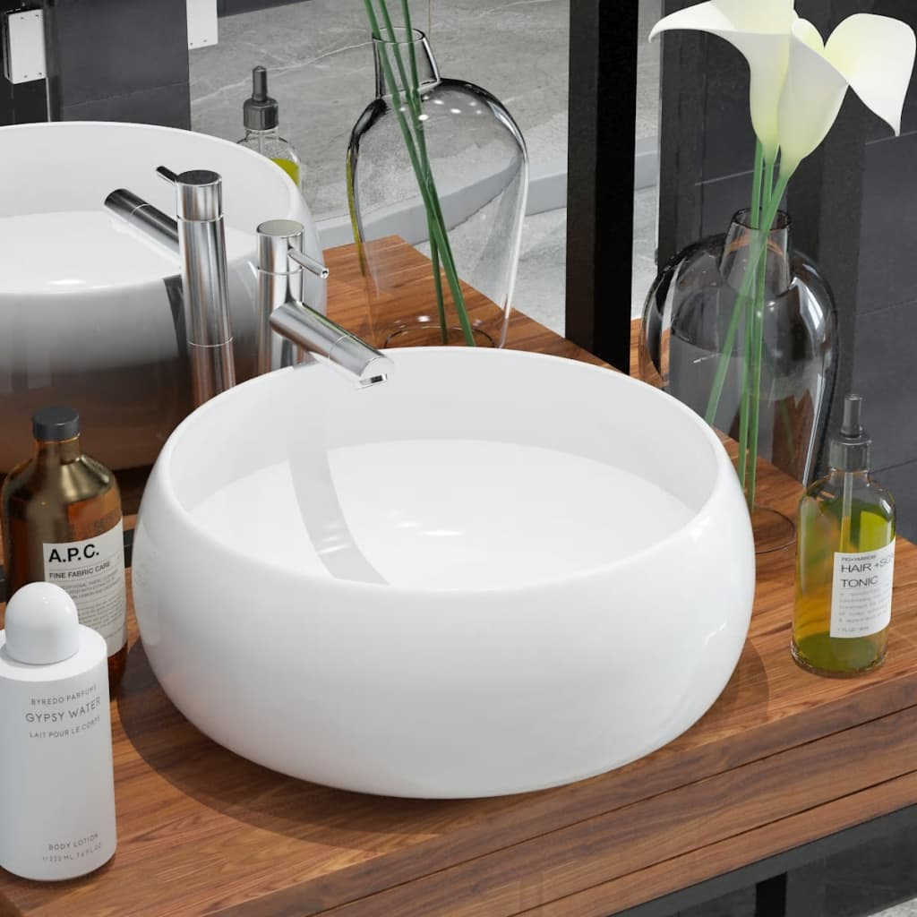 vidaXL Chiuvetă de baie rotundă, alb, 40 x 15 cm, ceramică vidaxl.ro