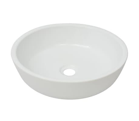 "vidaXL Basin Round Ceramic White 16.5""x4.7""[2/5]"