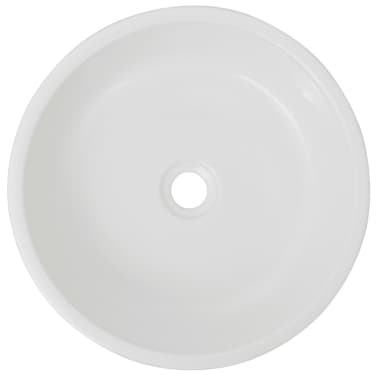 "vidaXL Basin Round Ceramic White 16.5""x4.7""[3/5]"