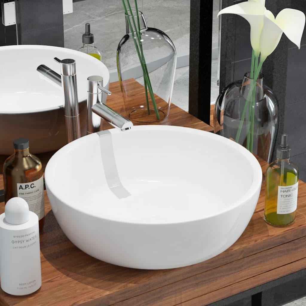 vidaXL Chiuvetă de baie din ceramică, rotundă, 42 x 12 cm, alb vidaxl.ro